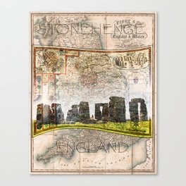 Stonehenge Art Map Canvas Print