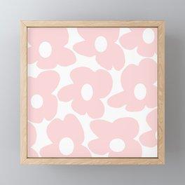 Large Baby Pink Retro Flowers on White Background #decor #society6 #buyart Framed Mini Art Print