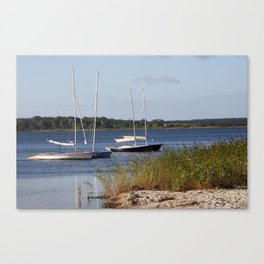 Sailboats moored in front of a natural beach.  Canvas Print