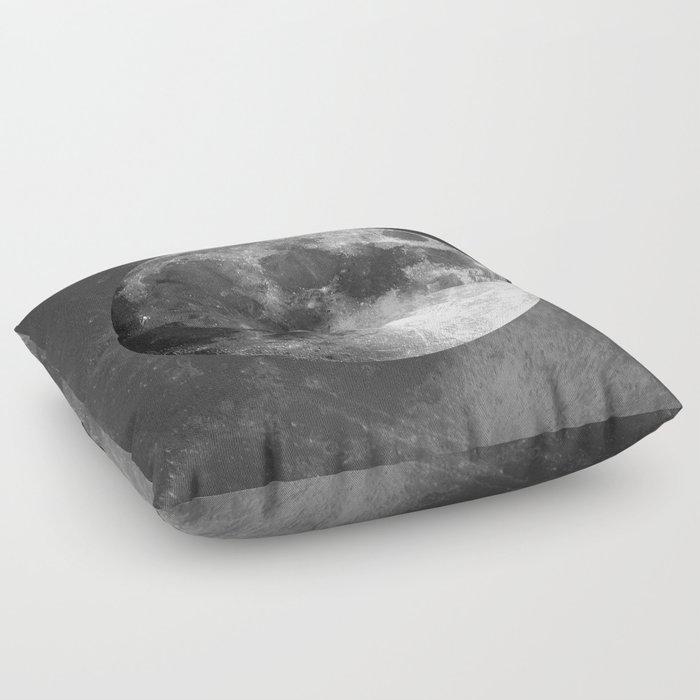 B&W Moon Floor Pillow
