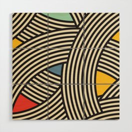 Modern Scandinavian Multi Colour Color Curve Graphic Wood Wall Art