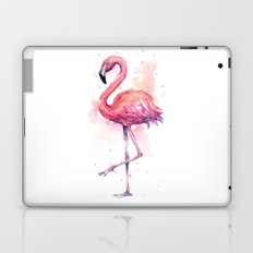 Pink Flamingo Watercolor Tropical Bird Laptop & iPad Skin