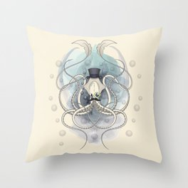 Classy Victorian Squid Throw Pillow