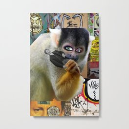 Monkey Snack Metal Print