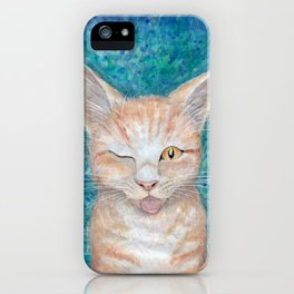 ";P ~ ""Seb the Groovy Cat"" by Amber Marine ~ Watercolor & Acrylic Painting, (Copyright 2016) iPhone Case"