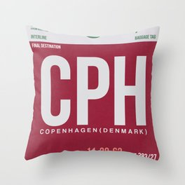 CPH Copenhagen Luggage Tag 2 Throw Pillow
