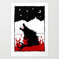 werewolf Art Prints featuring Werewolf by FROM THE ABYSS TO THE STARS