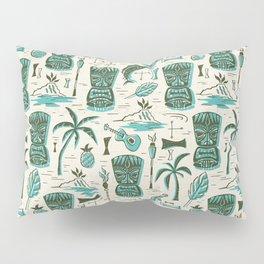 Tropical Tiki - Cream & Aqua Pillow Sham
