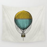 hot air balloon Wall Tapestries featuring Vintage Hot Air Balloon by Juste Pixx Designs