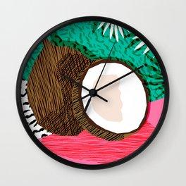 Bada Bing - memphis throwback tropical coconuts food vegan nature abstract illo neon 1980s 80s style Wall Clock