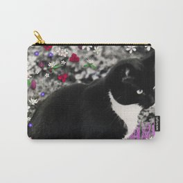 Freckles in Flowers II - Tuxedo Kitty Cat Carry-All Pouch