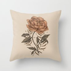 Peony and Ferns Throw Pillow