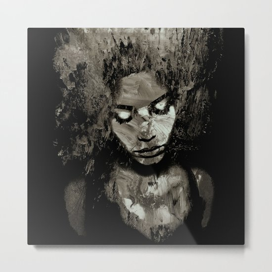 Melancholy and the Infinite Sadness Black and White Metal Print