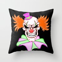 pennywise Throw Pillows featuring Demented Clown Skull by J&C Creations