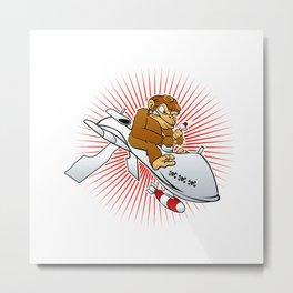 monkey on a drone cartoon Metal Print