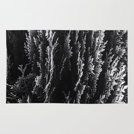 closeup leaf texture abstract background in black and white Rug