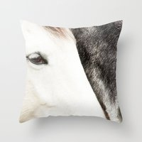 horses Throw Pillows featuring Horses by MarianaLage