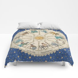 Vintage Astrology Zodiac Wheel Comforters