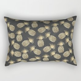 Modern chalk black elegant faux gold pineapple pattern Rectangular Pillow