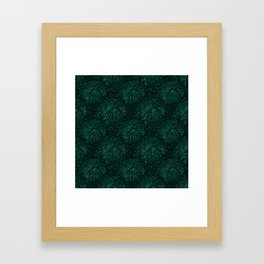 Elegant abstract forest green glitter tropical leaves Framed Art Print