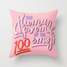 100 Emoji Throw Pillow