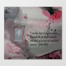 The Door----Religious Abstract Art --- John 10:9 --- by Saribelle Rodriguez Canvas Print