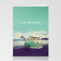 Stationery Cards featuring NEVER STOP EXPLORING THE BEACH by Monika Strigel