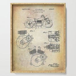 1943 Paper Indian Motor Company Drive Shaft for Motorcycles Patent Serving Tray