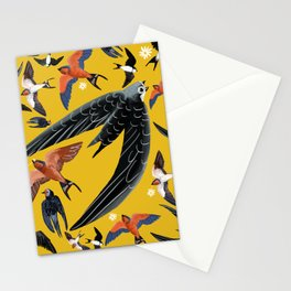 Swallows Martins and Swift pattern Yellow Stationery Cards