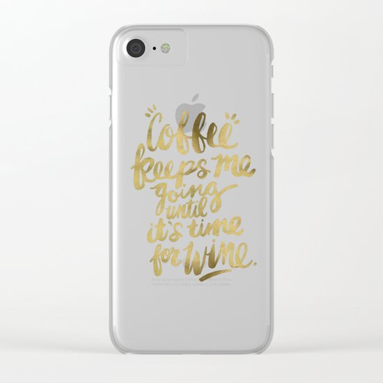 Coffee & Wine – Gold Clear iPhone Case