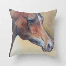 Arabian Horse portrait Brown horse head Oil painting Throw Pillow