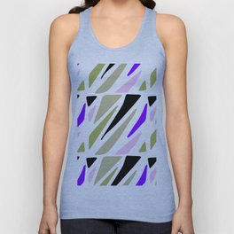 Hand painted abstract pink violet green geometric pattern Unisex Tank Top