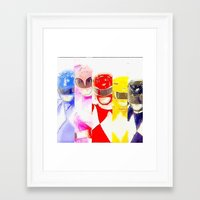 power rangers Framed Art Prints featuring Power Rangers by americanmikey