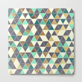 Modern Gray White Teal and Faux Gold Triangles Metal Print