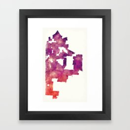 Kansas Missouri city watercolor map in front of a white background Framed Art Print
