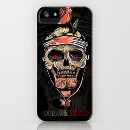 Skull and rose poster in old tattoo style-Run or Death! Skeleton bones music- this is all you need! iPhone Case