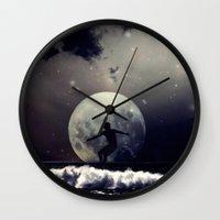 surfer Wall Clocks featuring Surfer by Monika Strigel