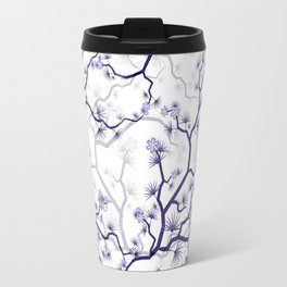 Abstract navy blue gray lavender floral illustration Travel Mug
