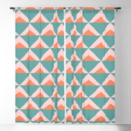 Colorful Triangle Pattern in Teal, Pink, and Orange Blackout Curtain