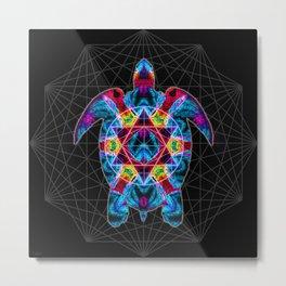 Sacred Geometry Turtle Metal Print