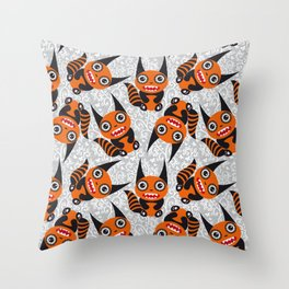 Funny orange monster Throw Pillow