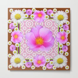 Floral Abundance Brown Shasta Daisy Pink Roses Abstract Art Metal Print