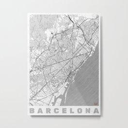 Barcelona Map Line Metal Print