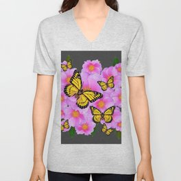PINK ROSES YELLOW MONARCH  CHARCOAL ART Unisex V-Neck