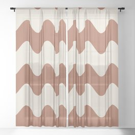 Cavern Clay SW 7701 and Creamy Off White SW7012 Wavy Horizontal Rippled Stripes Sheer Curtain