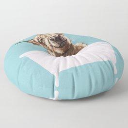 Playful Highland Cow in Bathtub Floor Pillow