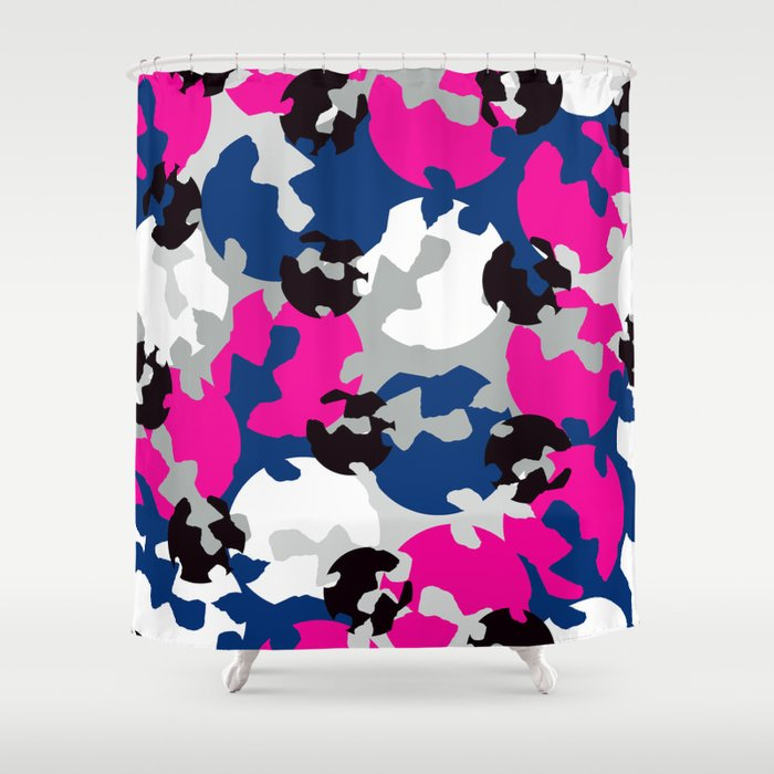 Pink And Blue Camouflage Shower Curtain