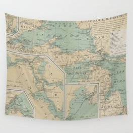 Vintage Great Lakes Lighthouse Map (1898) Wall Tapestry
