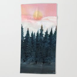 Forest Under the Sunset Beach Towel