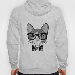 Cat Hipster with Stripes Bow Tie Hoody